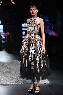 Black Embroidered Halter Neck Gown by Samant Chauhan