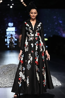Black Embroidered Jakcet Gown by Samant Chauhan