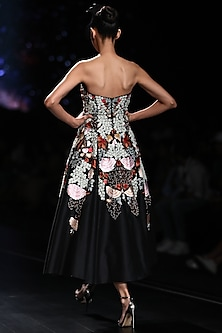 Black Off Shoulder Embroidered Gown by Samant Chauhan
