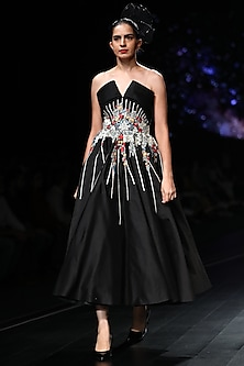 Black Off Shoulder Thread Embroidered Gown by Samant Chauhan