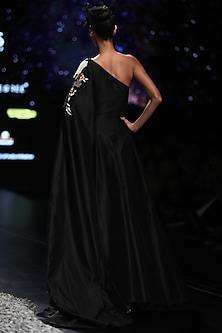 Black Embroidered Gown With Long Sleeve by Samant Chauhan
