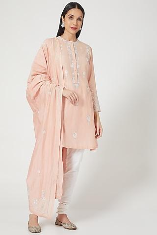 Pink Zardosi Embroidered Kurta Set by Samant Chauhan