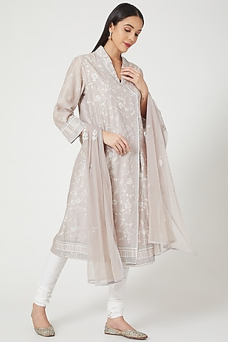 Grey Embroidered Front Open Kurta Set by Samant Chauhan