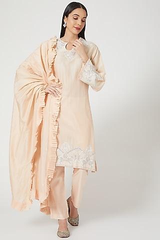 Peach Embroidered Kurta Set by Samant Chauhan