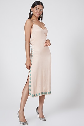 Blush Pink Embroidered Dress by Subculture