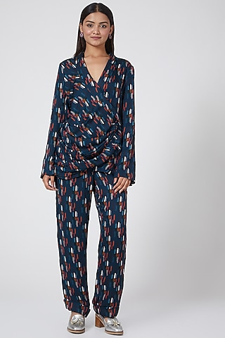 Blue Cowl Draped Suit by Subculture