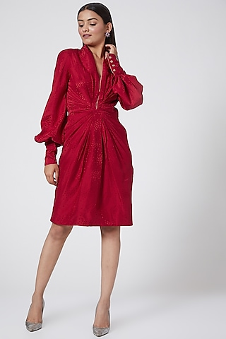 Red Silk Jacquard Dress by Subculture