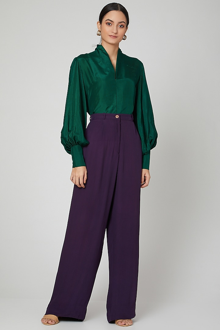 Emerald Green Blouse With Gathered Sleeves by SubCulture