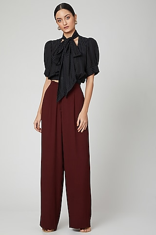 Maroon Satin Straight Leg Pants by SubCulture