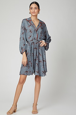 Blue Printed A-Line Dress by SubCulture