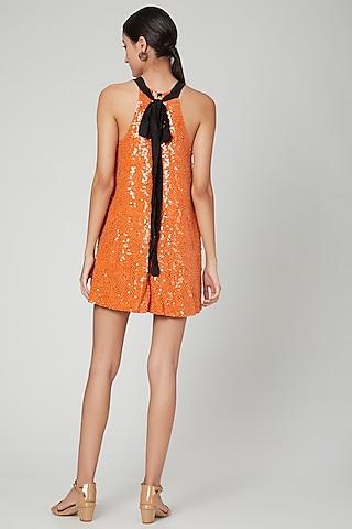 Orange Sequins Embellished Dress by SubCulture