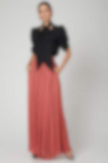 Pink Metallic Maxi Skirt by SubCulture