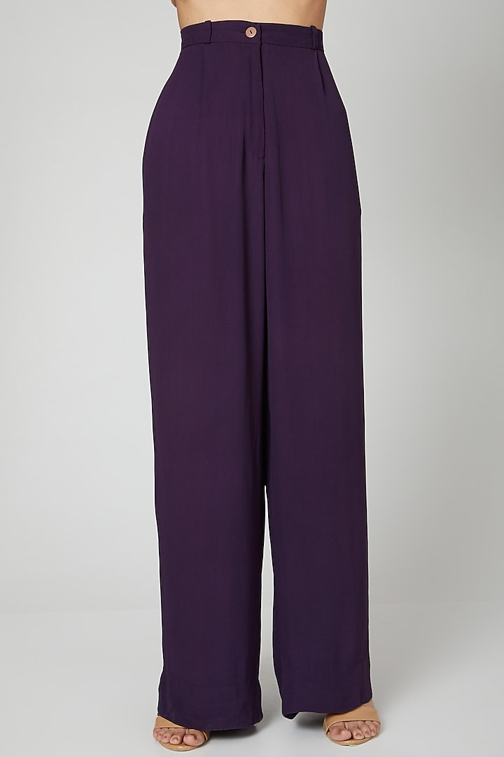 Purple Satin Moss Pants by SubCulture
