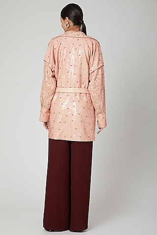 Pink Embroidered A-Line Dress by SubCulture
