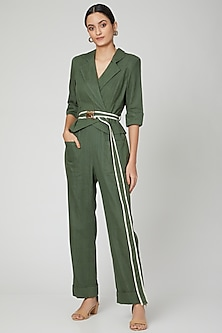 Moss Green Jumpsuit With Belt by SubCulture