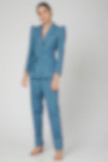 Blue Cotton Denim Suit Set by SubCulture