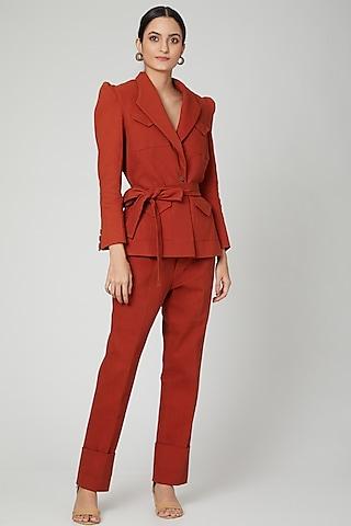 Rust Brown Cotton Denim Suit Set by SubCulture