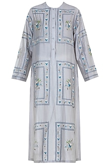 Powder Blue Embroidered Kurta by Samant Chauhan