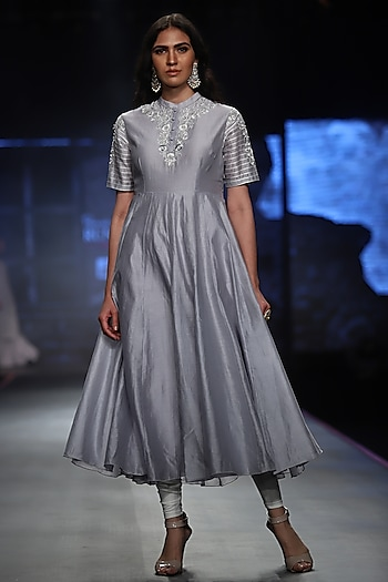 Powder Blue Embroidered High Neck Dress by Samant Chauhan