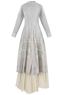 Grey Embroidered Dress With Off White Maxi Inner Dress by Samant Chauhan