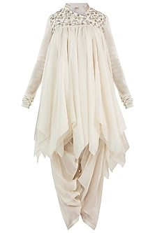 Off White Embroidery High Low Mini Dress by Samant Chauhan