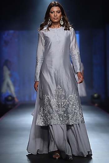 Powder Blue Embroidered Kurta With Inner Dress by Samant Chauhan