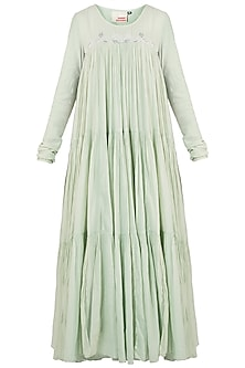 Mint Green Embroidered Tier Dress by Samant Chauhan