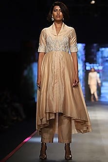 Light Peach Embroidered Jacket With Trouser Pants by Samant Chauhan