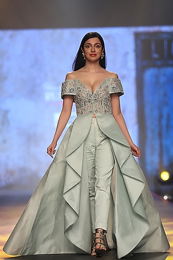 Mint Green Embroidered Jacket With Trousers Pants by Samant Chauhan