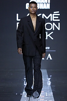 Black Blazer With Pants by Samant Chauhan Men