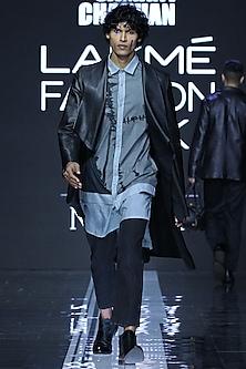 Black Jacket With Digital Printed Shirt & Pants by Samant Chauhan Men