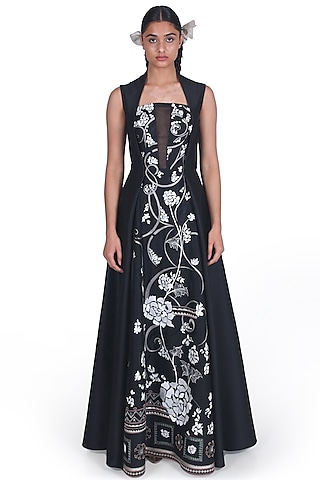 Black Zardosi Embroidered Gown by Samant Chauhan