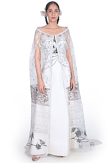 White Off Shoulder Gown With Cape by Samant Chauhan-SAMANT CHAUHAN