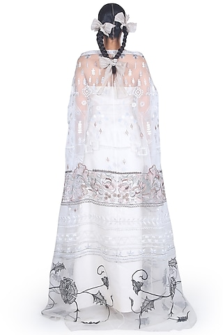 White Off Shoulder Gown With Cape by Samant Chauhan