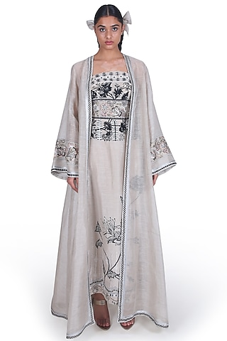 Grey Embroidered Tube Gown With Jacket by Samant Chauhan