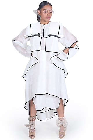 Off White Asymmetrical Dress by Samant Chauhan
