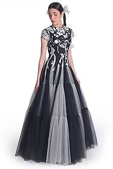 Black & Grey Net Layered Gown by Samant Chauhan-SAMANT CHAUHAN