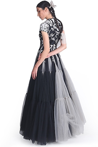Black & Grey Net Layered Gown by Samant Chauhan