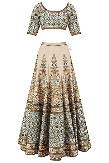 Sea Green Embroidered Lehenga and Blouse Set by Samant Chauhan