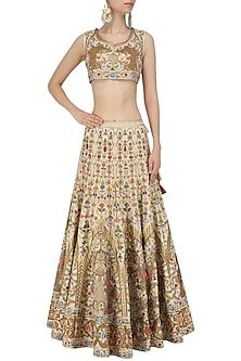 Ivory and Gold Embroidered Lehenga and Blouse Set by Samant Chauhan