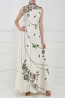 Off White Embroidered Front Open Gown by Samant Chauhan