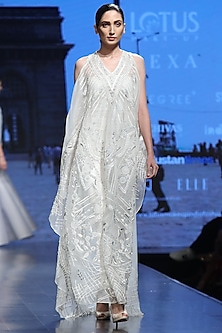 Off White Embroidered Kaftan With Inner by Samant Chauhan