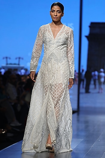 Off White Embroidered Gown With Inner by Samant Chauhan