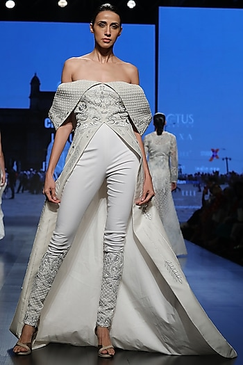 Off White Off-Shoulder Jacket With Pants by Samant Chauhan