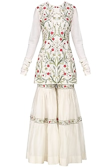 Off White Embroidered Kurta with Sharara Pants Set by Samant Chauhan