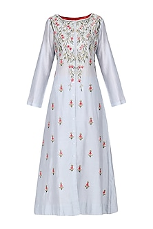Prussian Blue Front Open Embroidered Kurta by Samant Chauhan