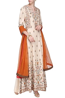 Cream Embroidered Anarkali Gown Set by Samant Chauhan