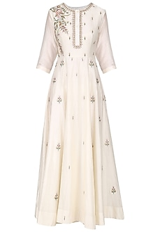 Off White Embroidered Maxi Dress by Samant Chauhan
