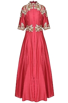 Carrot Red Embroidered Front Open Gown by Samant Chauhan