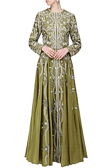 Olive Green Embroidered Front Open Gown by Samant Chauhan